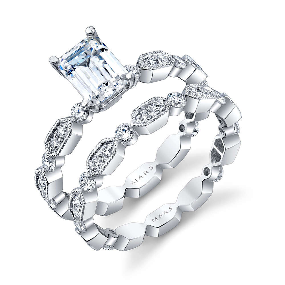 MARS Ever After White Gold Emerald Cut Diamond Geometric Engagement Ring Set