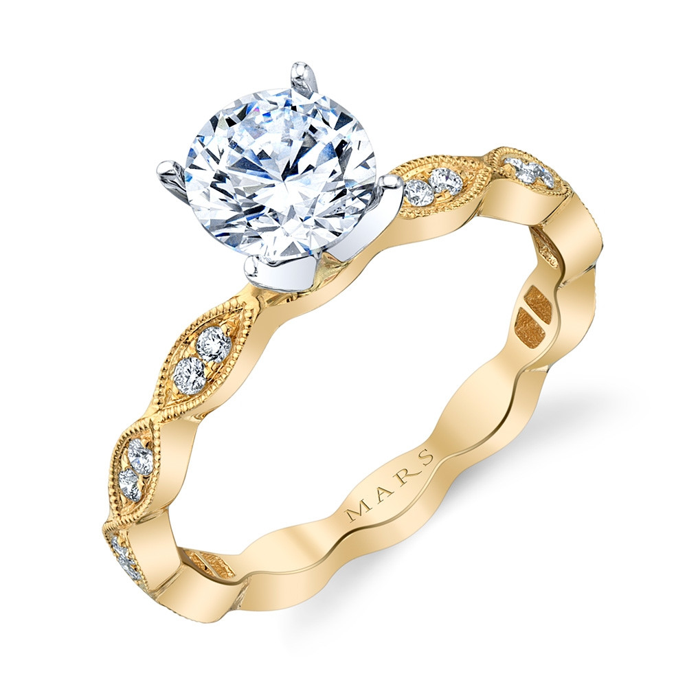 MARS Rebel Hearts Yellow Gold Diamond Marquise Engagement Setting Angle View