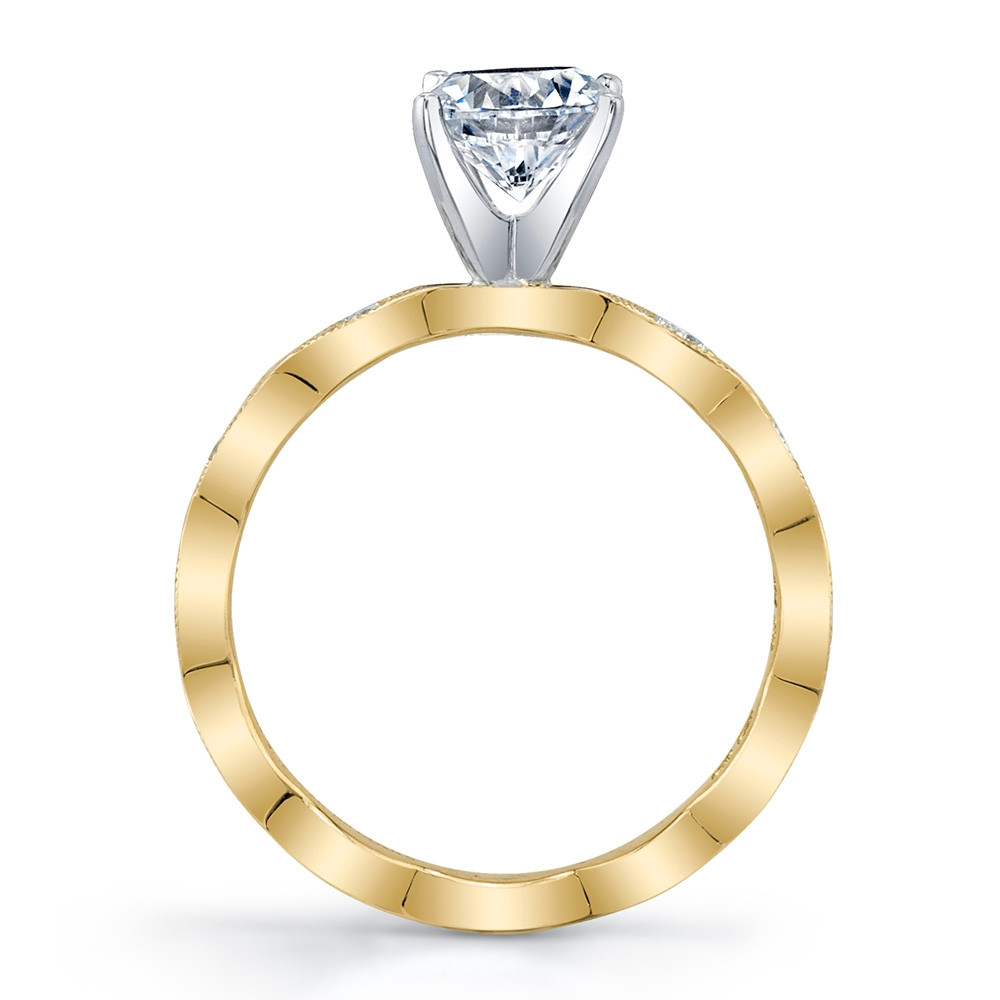 MARS Rebel Hearts Yellow Gold Diamond Marquise Engagement Setting Side View