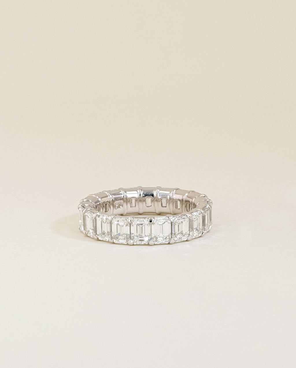 Emerald Diamond Eternity Ring low view