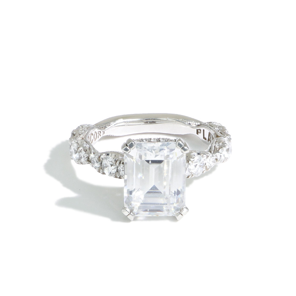 Tacori Royal T Emerald Cut Pave Diamond Engagement Ring Setting In Platinum