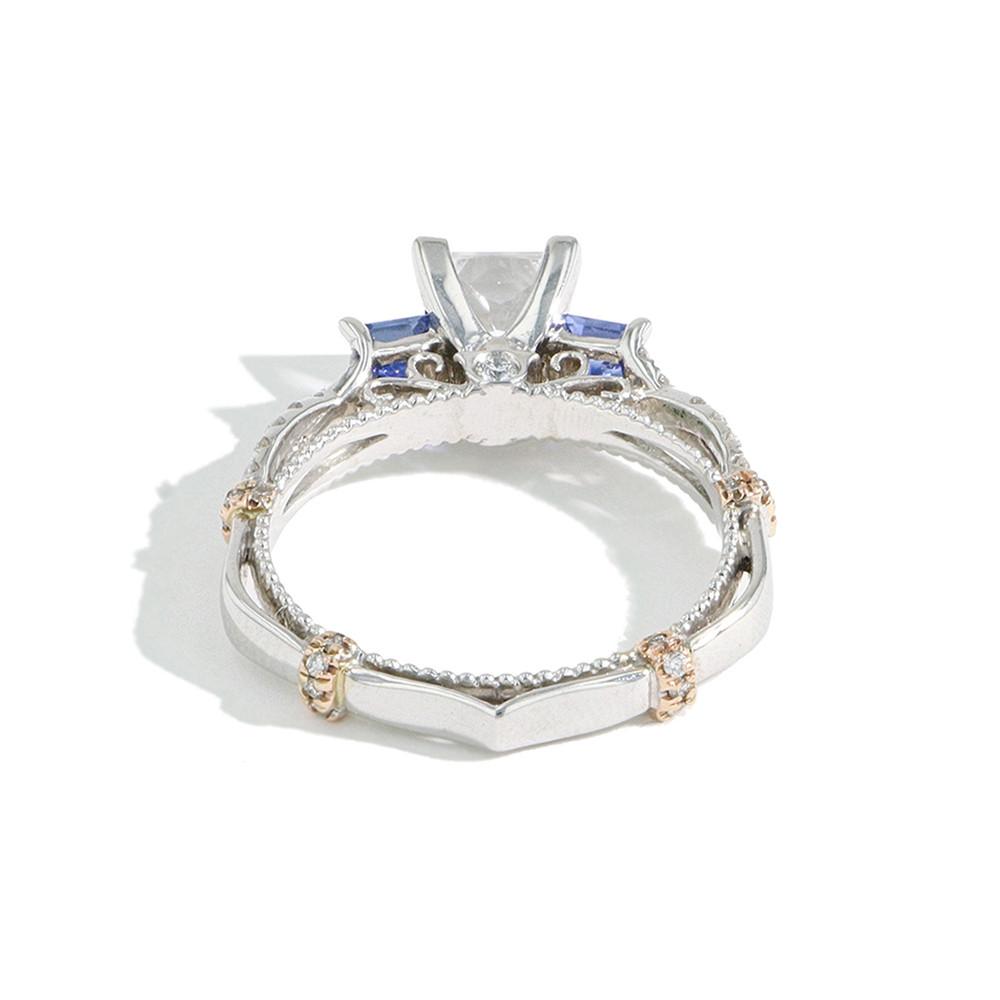 Verragio Parisian Princess Cut Diamond and Sapphire Engagement Ring Setting back view