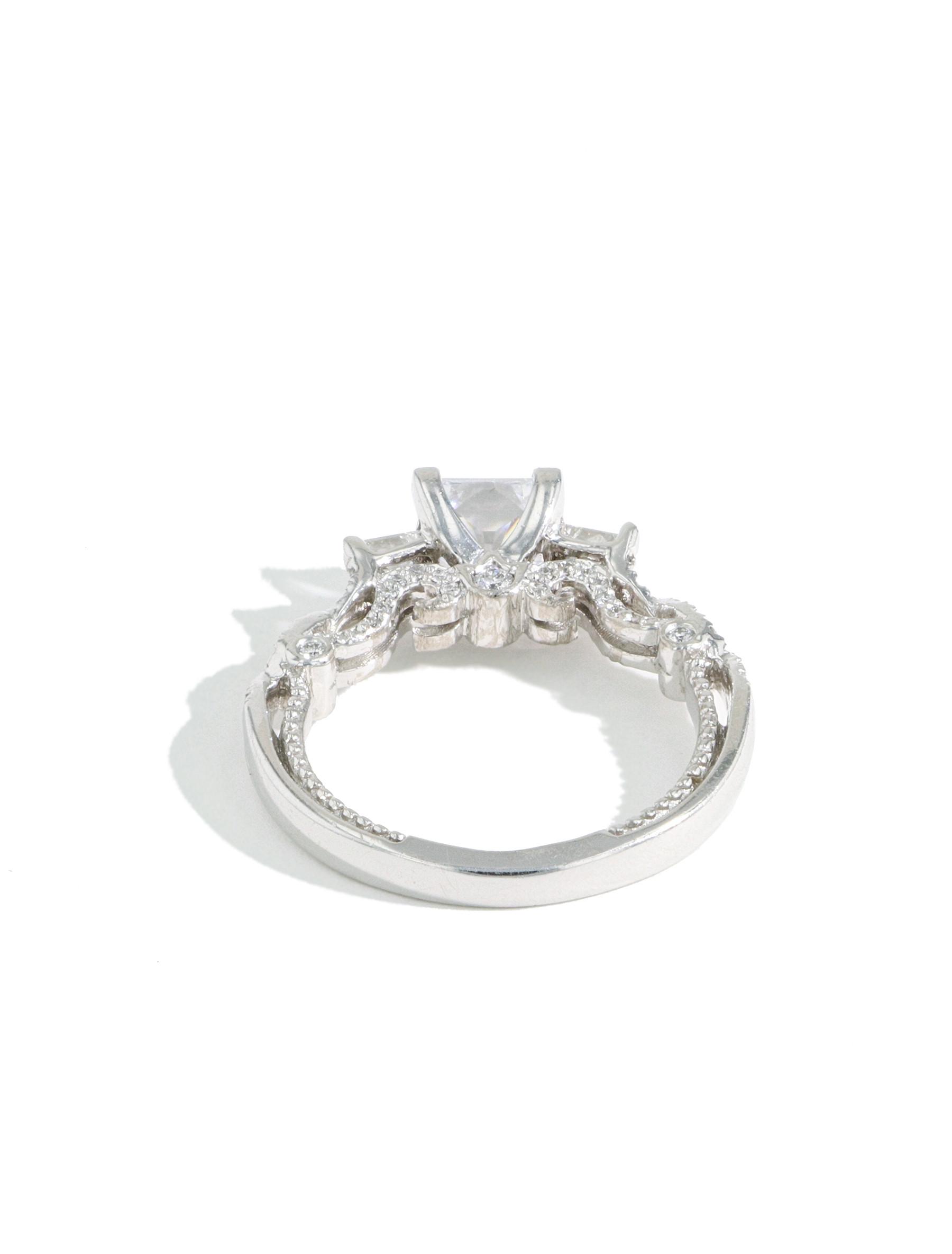 Verragio Insignia Princess Cut Diamond Three Stone Engagement Ring Setting back view