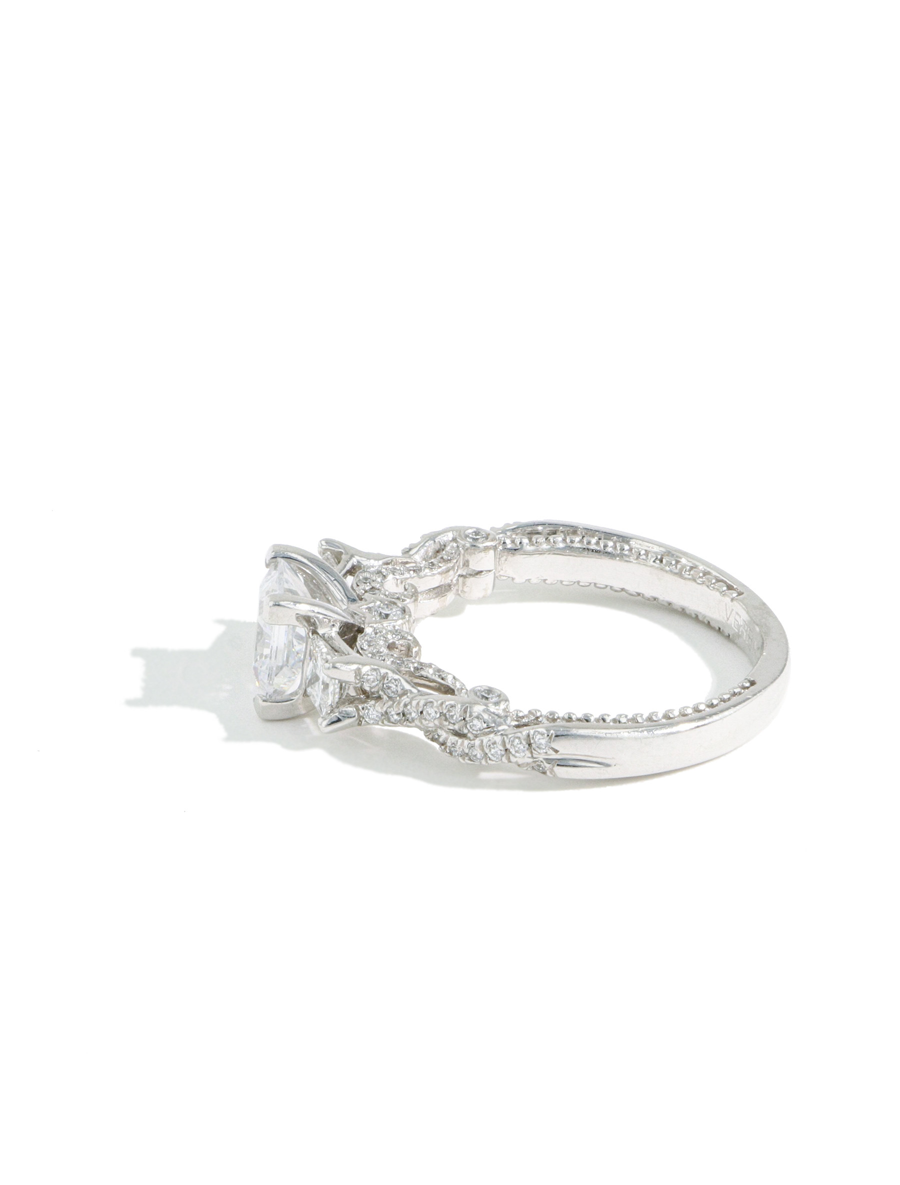 Verragio Insignia Princess Cut Diamond Three Stone Engagement Ring Setting side view