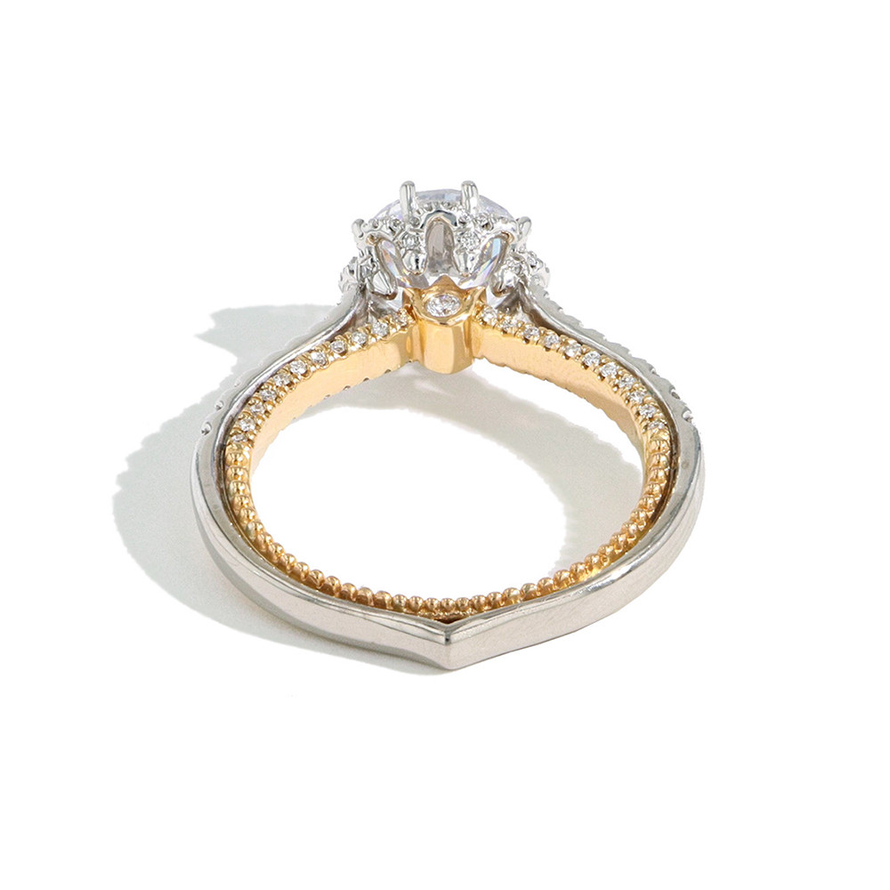 Verragio Couture Two Tone Round Flower Halo Engagement Ring Setting back view