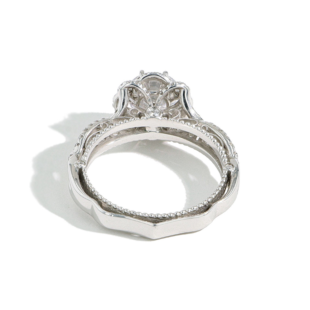 Verragio Venetian Round Flower Halo Engagement Ring Setting back view