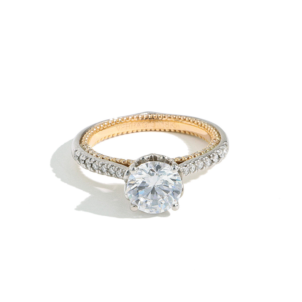Verragio Couture Two Tone Round Pave Engagement Ring Setting front view