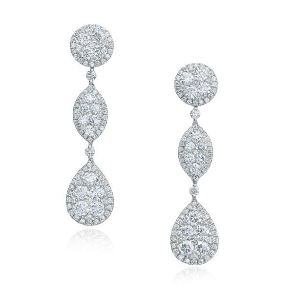 Diamond Drop White Gold Earrings