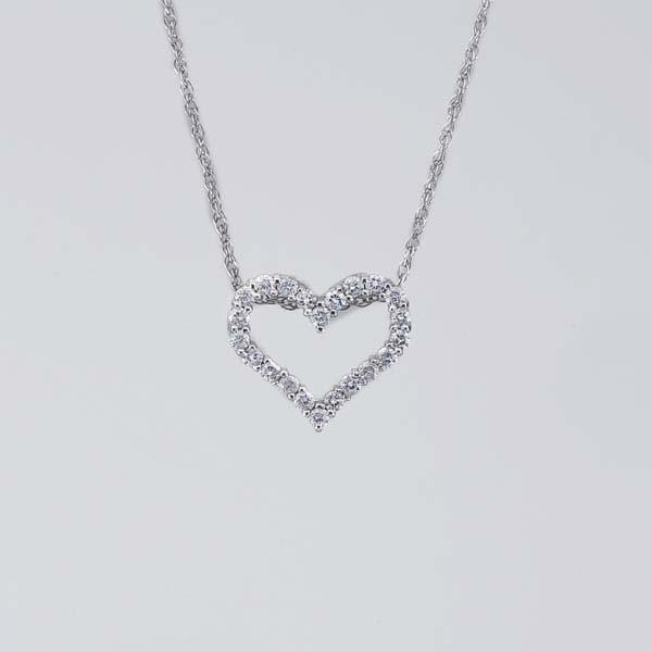 Open Heart White Gold Diamond Pendant on Adjustable Chain