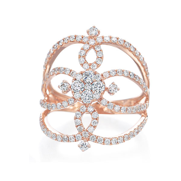 Rose Gold & Diamond Flower Stackable Ring