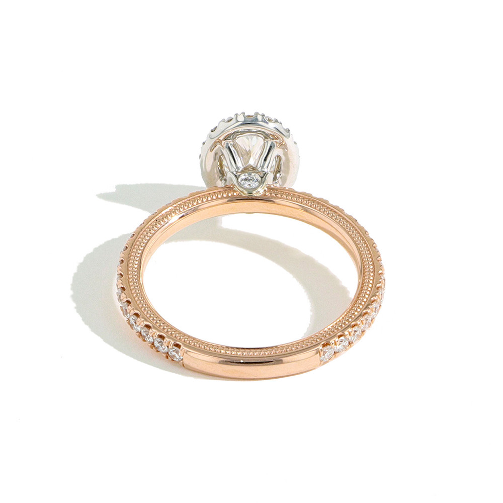 Verragio Tradition Oval Halo Pavé Diamond Engagement Ring Setting back view