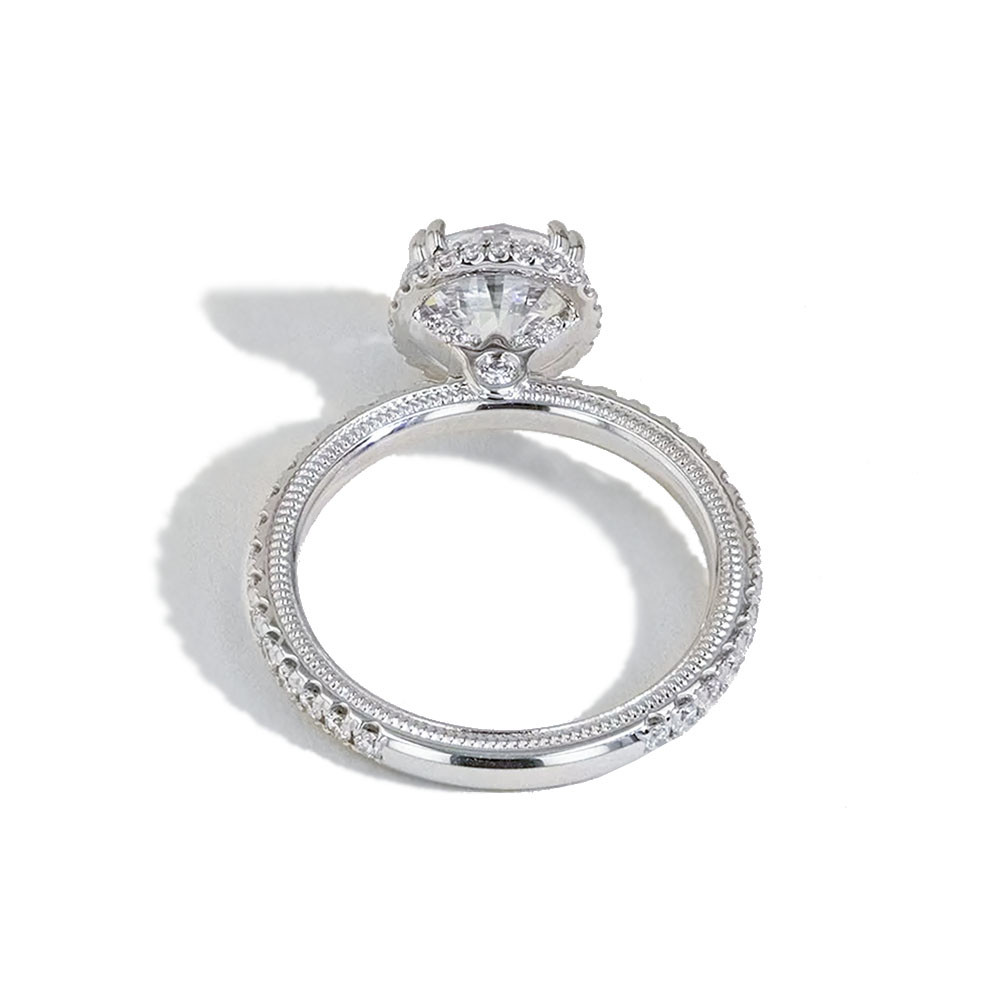 Verragio Tradition Round Diamond Halo Engagement Ring Setting back view