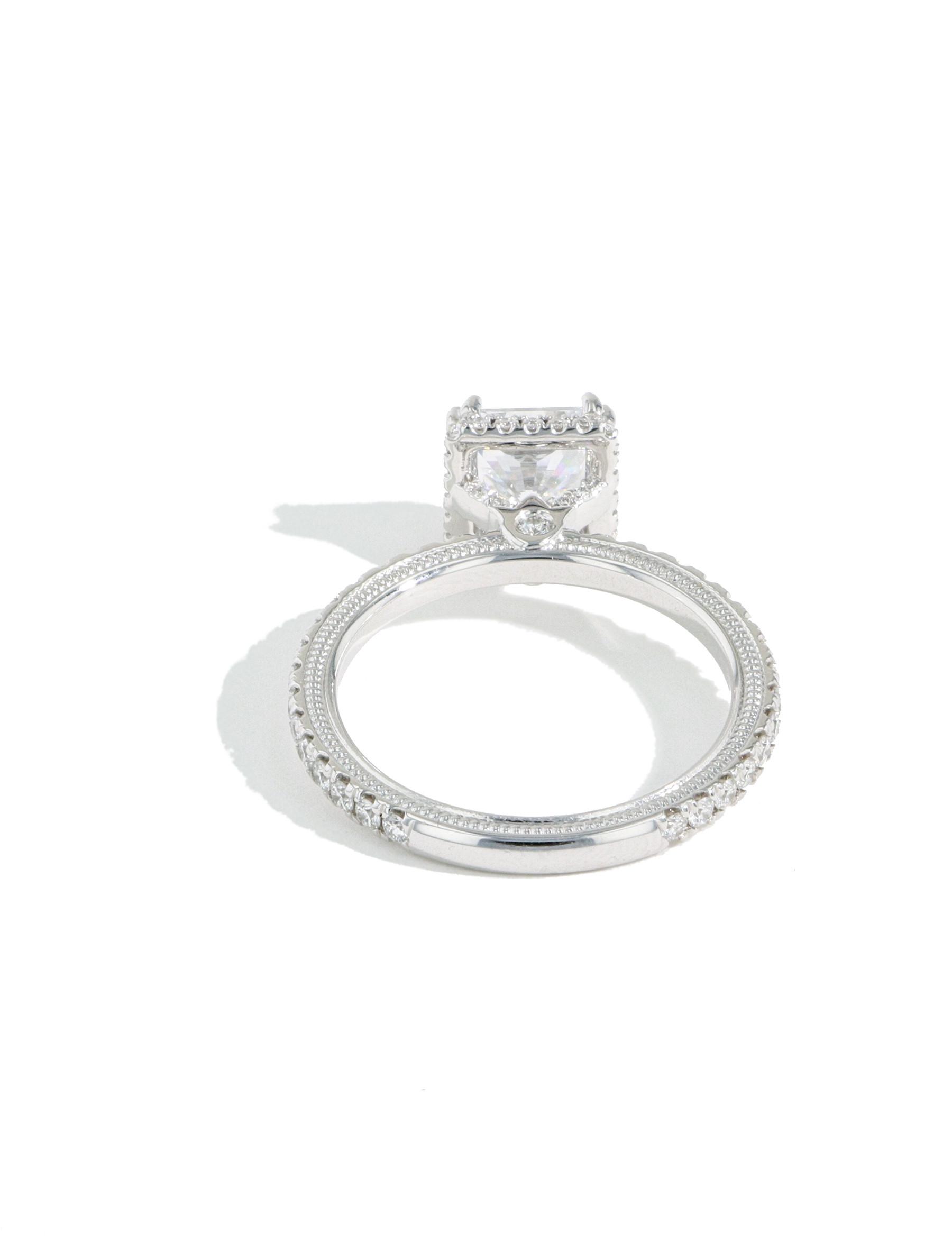 Verragio Tradition Hidden Halo Princess Diamond Engagement Ring Setting back view
