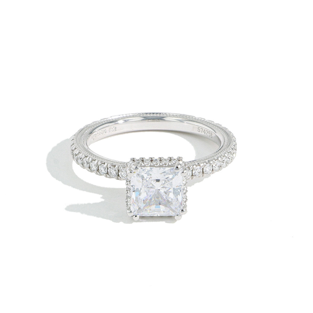 Verragio Tradition Hidden Halo Princess Diamond Engagement Ring Setting front view