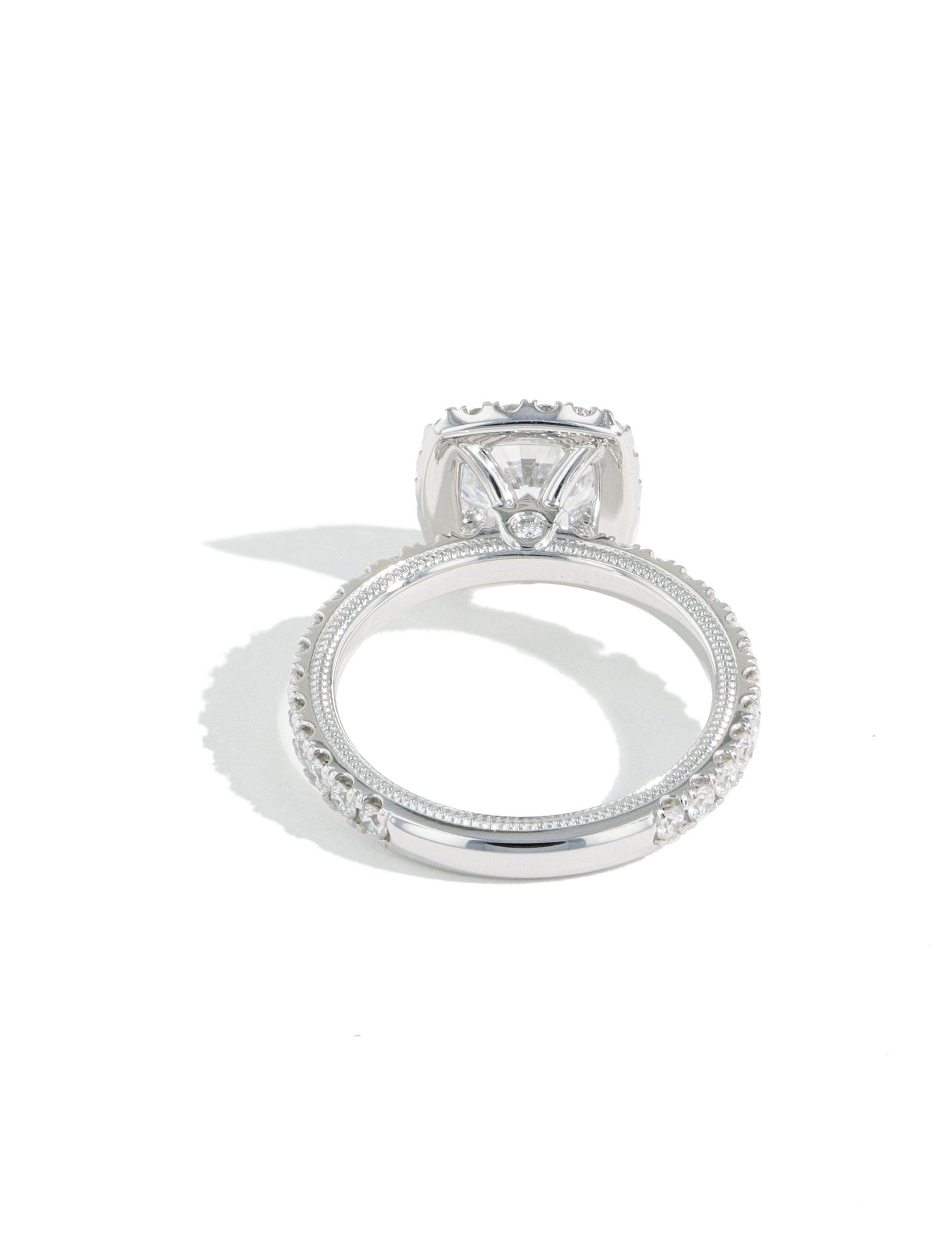 Verragio Tradition Round Diamond Cushion Halo Engagement Ring Setting back view