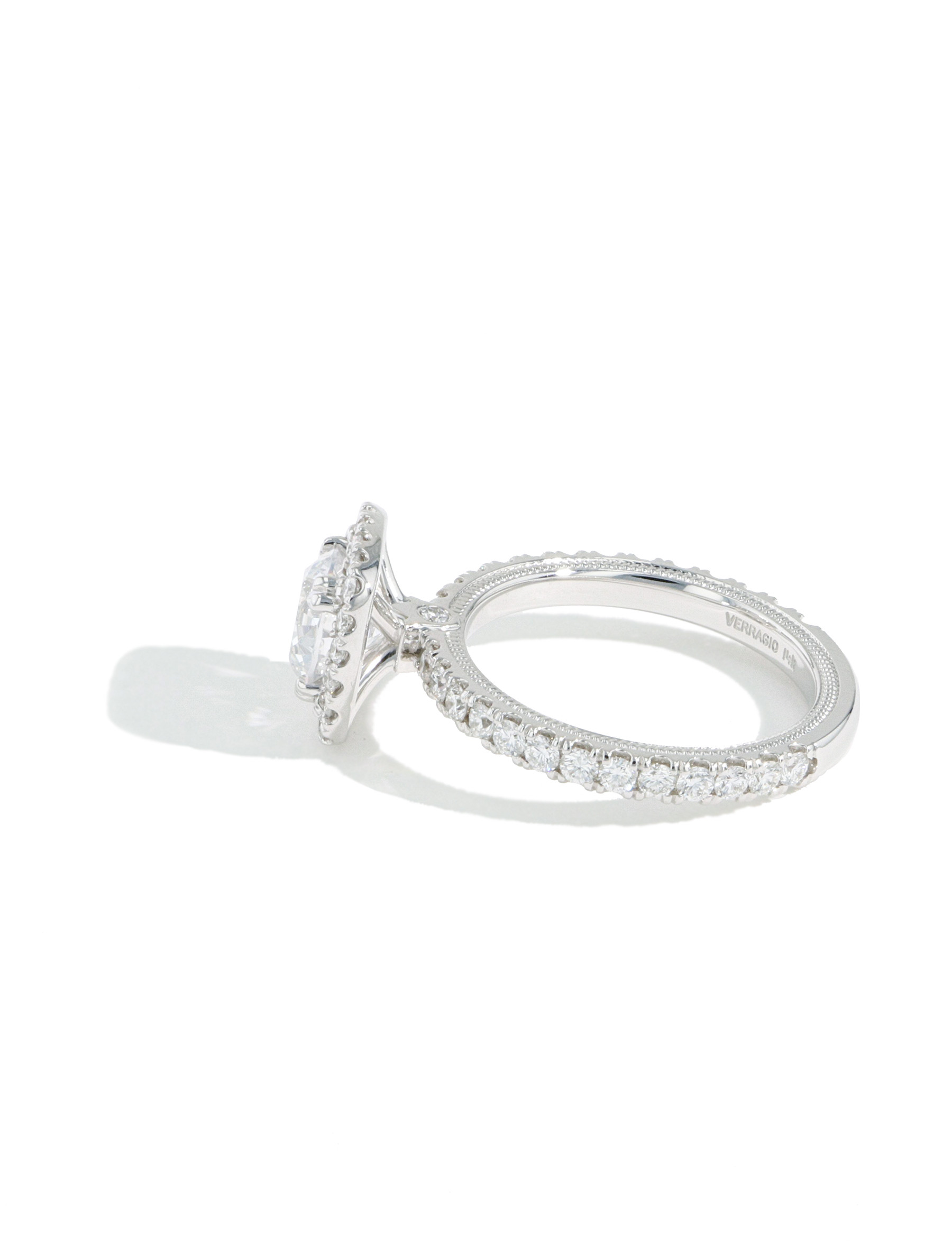 Verragio Tradition Round Diamond Cushion Halo Engagement Ring Setting side view