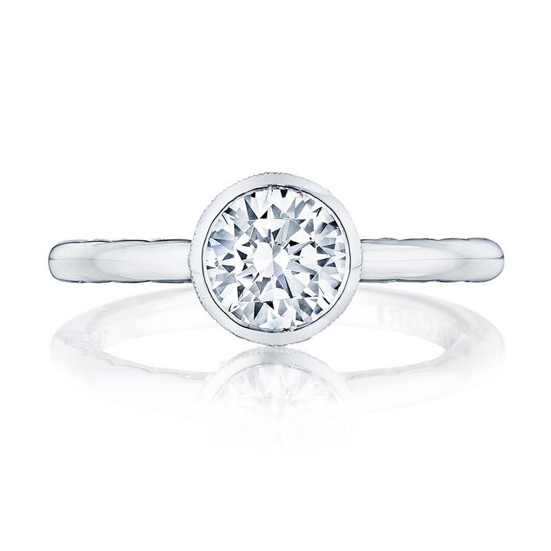 Tacori 300-2RD7.5 White Gold Bezel Set Engagement Ring Starlit Setting Top View