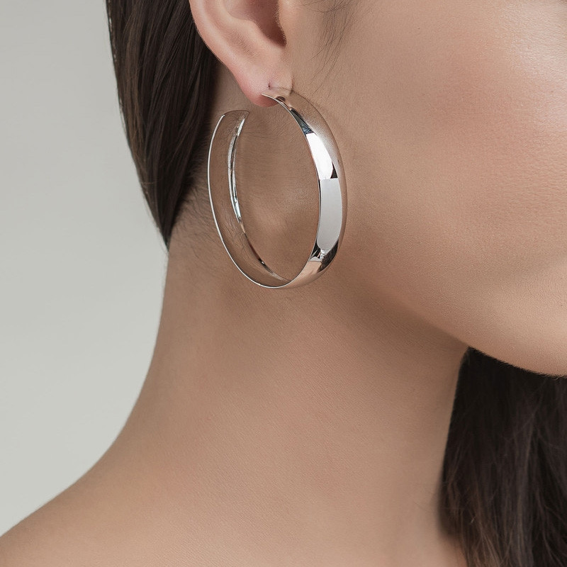 Lana Curve Yellow Gold Large Bubble Hoop Earrings on Model