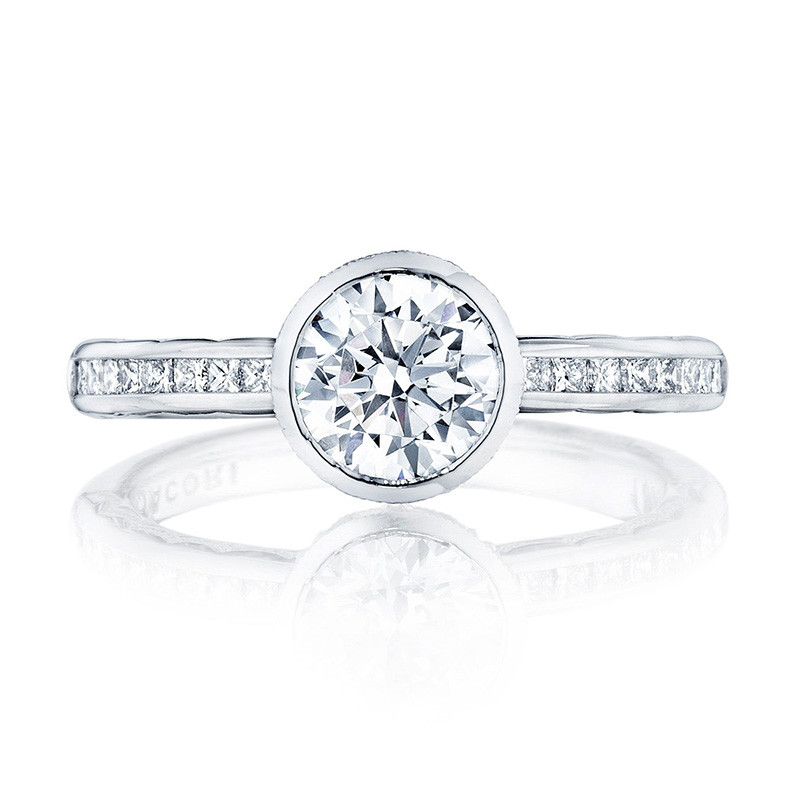 Tacori 301-25RD75 Channel Set White Gold Engagement Starlit Setting Top View