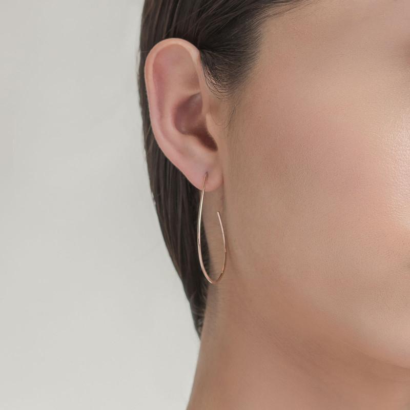 Lana Yellow Gold Wire Teardrop Hoop Earrings on Model