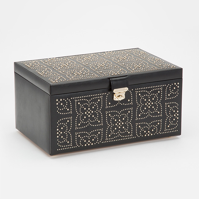 Wolf Large Black Leather Studded Jewelry Marrakesh Box Side View