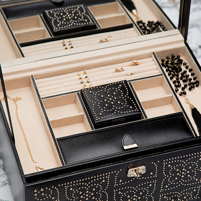 Wolf Large Black Leather Studded Jewelry Marrakesh Box Inside View