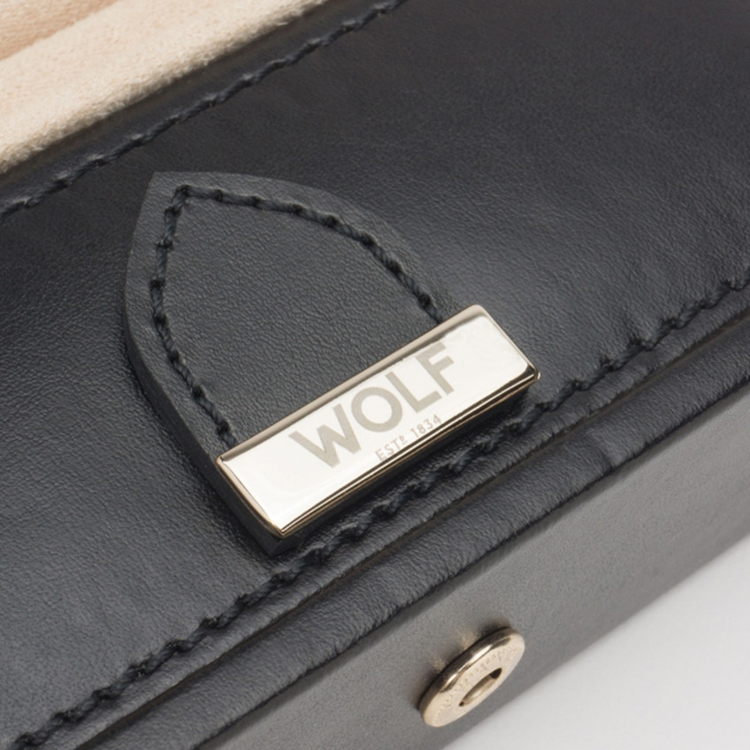 Wolf Black Leather Marrakesh Safe Deposit Box