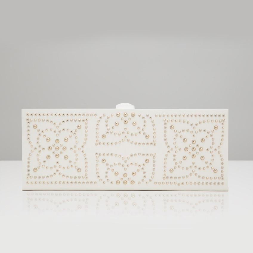 Wolf Cream Leather Marrakesh Safe Deposit Box Front View