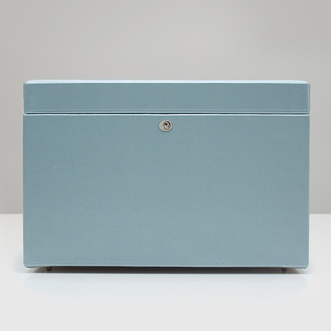 Wolf Large Ice Blue Leather London Jewelry Box