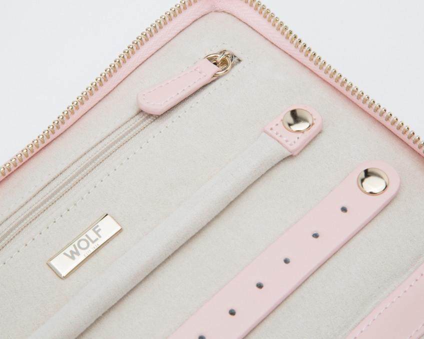 Wolf Caroline Quilted Leather Jewelry Portfolio in Rose Quartz Close Up