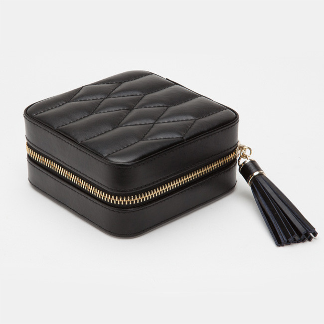 Wolf Black Leather Quilted Caroline Jewelry Travel Case SideView