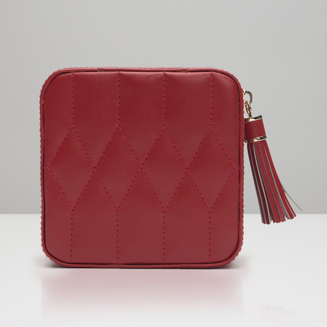 Wolf Red Leather Quilted Caroline Jewelry Travel Case