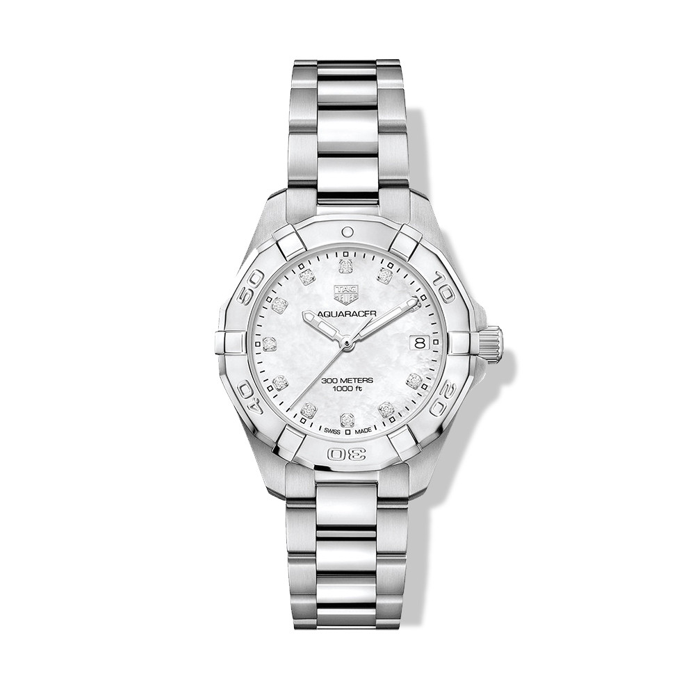 Tag Heuer Aquaracer 32mm Mother of Pearl Dial Watch with Diamonds