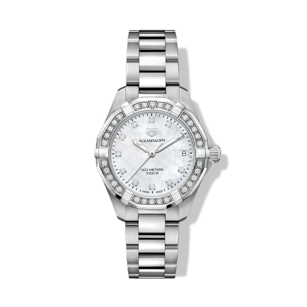 Tag Heuer Aquaracer 32mm Mother of Pearl Watch with Diamond Bezel