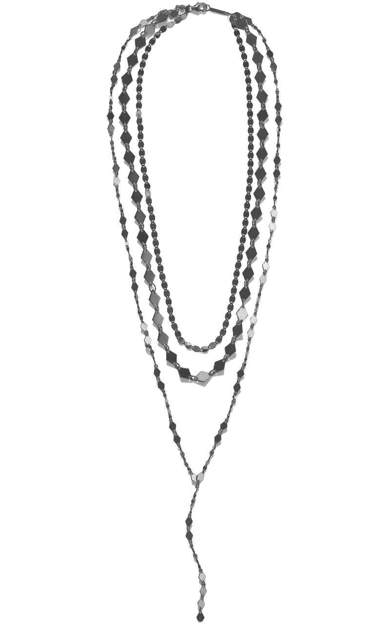 Lana Layered Lariat Necklace in Black Rhodium