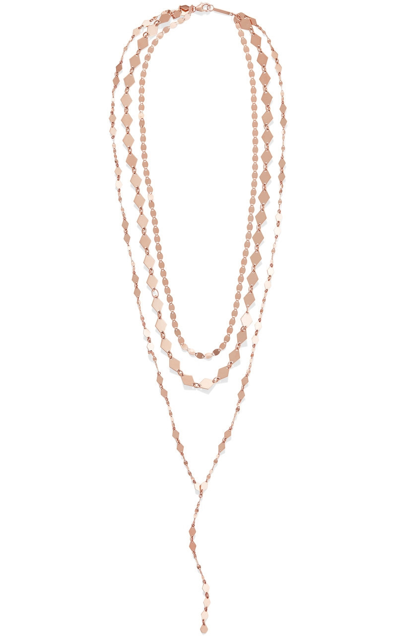 Lana Layered Lariat Necklace in Rose Gold