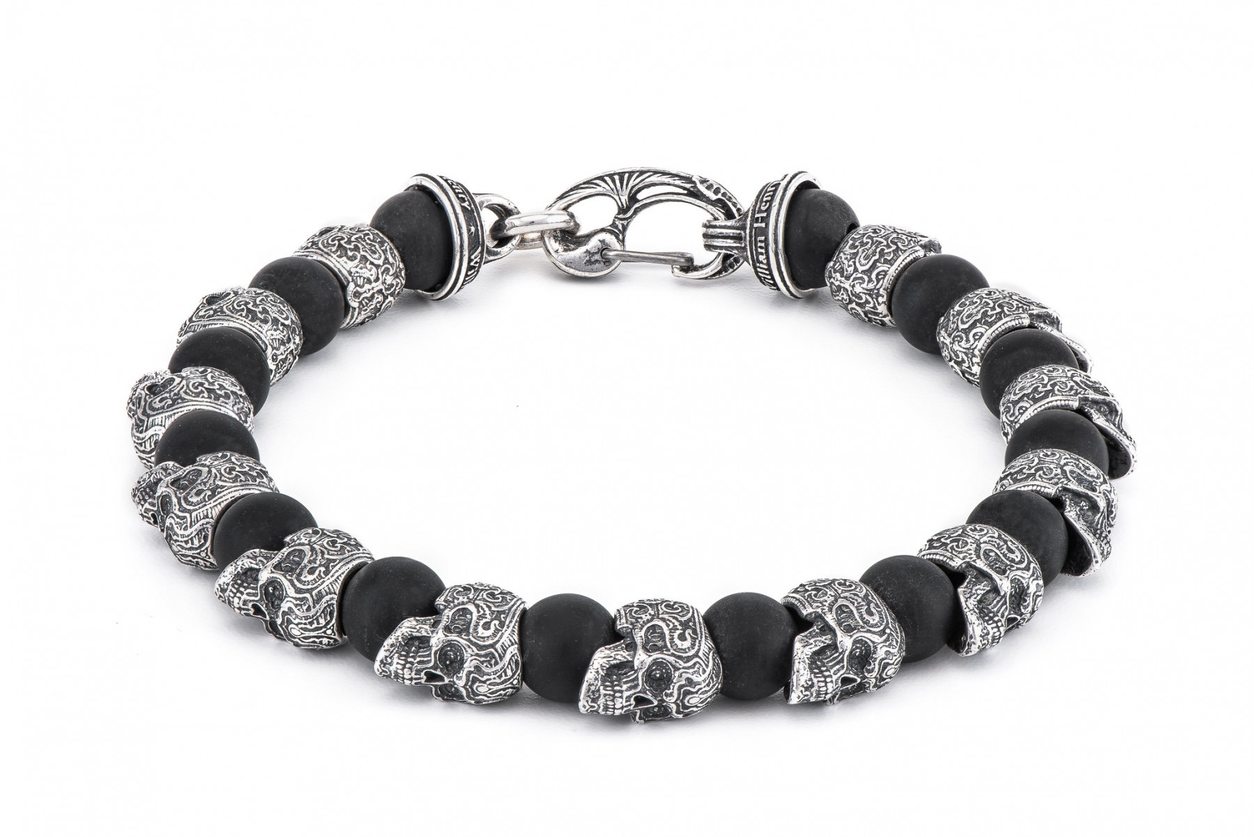 William Henry Onyx & Skull Bracelet