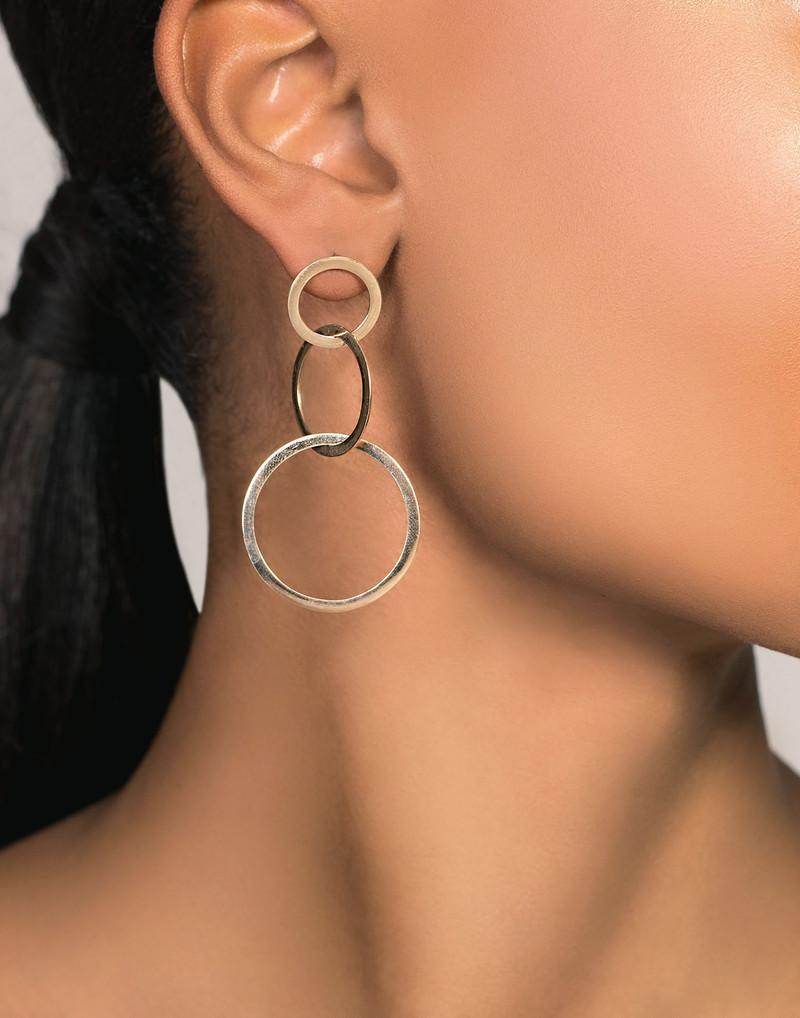 Lana 14K Gold Circle Drop Earring model