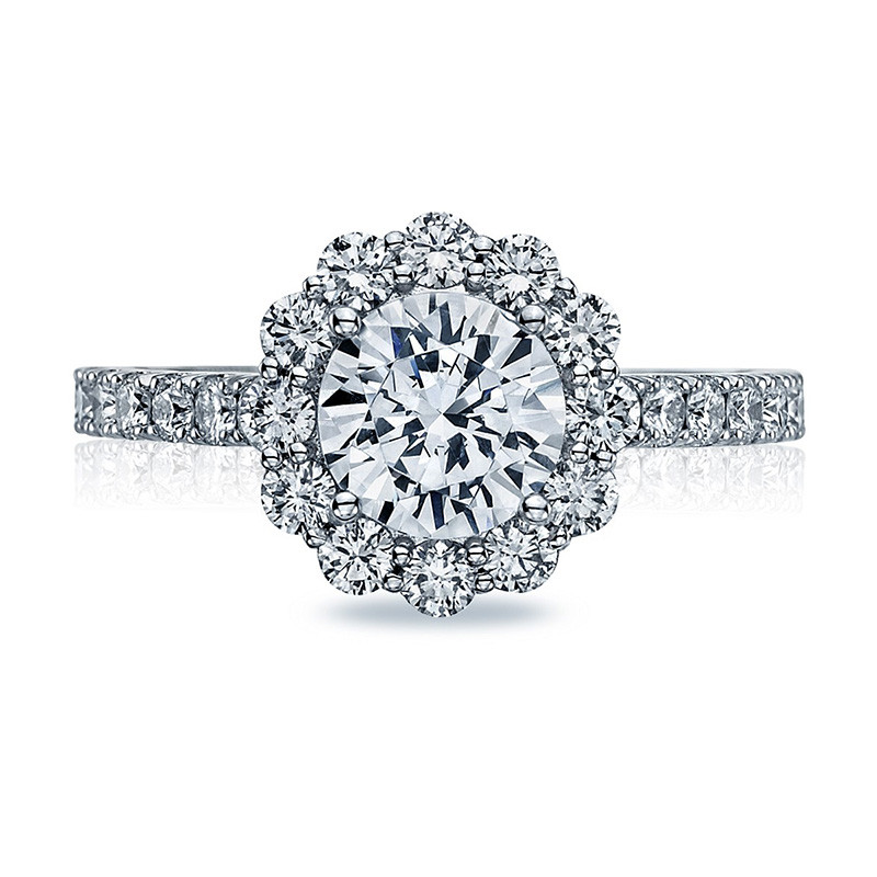 Tacori 37-2RD7 Diamond Half Way Platinum Engagement Full Bloom Setting Top View