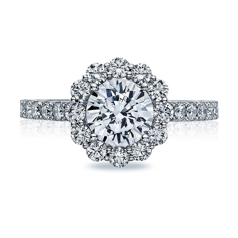 Tacori 37-2RD5.5 Diamond Half Way Platinum Full Bloom Engagement Setting Top View