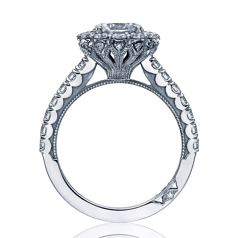 Tacori 37-2RD7 Diamond Half Way Platinum Engagement Full Bloom Setting Edge View