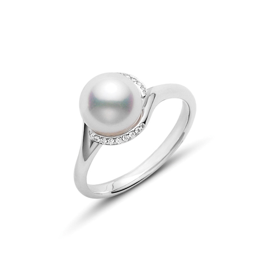 Mikimoto 8mm A+ Pearl and Diamond White Gold Ring