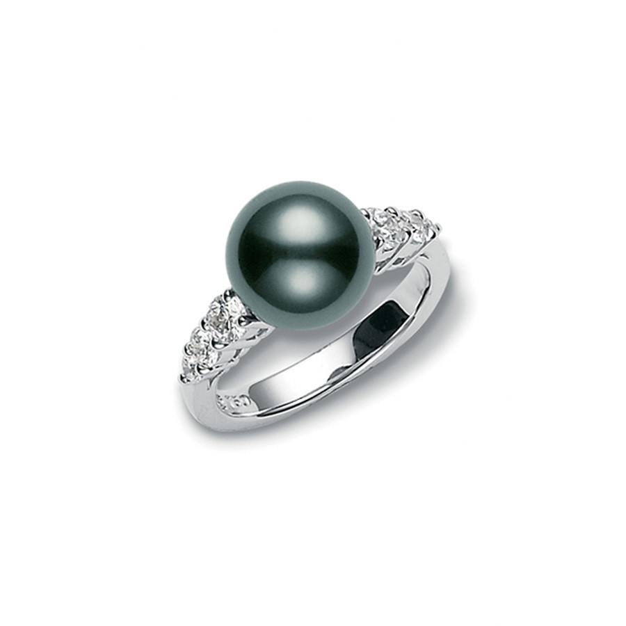 Mikimoto Black South Sea Pearl & Diamond Ring