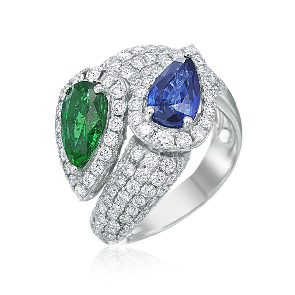 White Gold Emerald & Blue Sapphire Bypass Ring