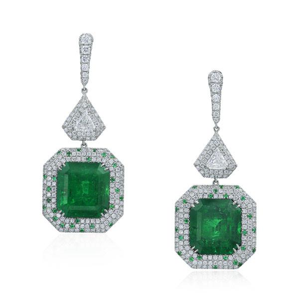 Platinum Emerald & Diamond Drop Earrings