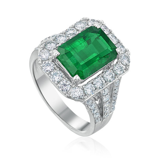 White Gold Colombian Emerald & Diamond Ring