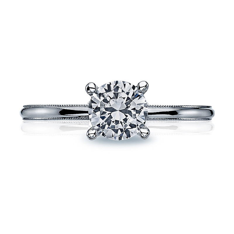 Tacori 40-15RD6 Milgrain Solitaire White Gold Engagement Sculpted Crescent Setting Top View