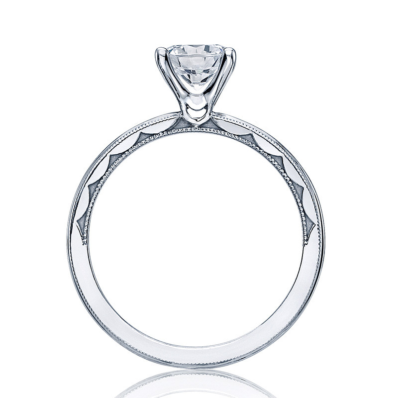 Tacori 40-15RD5.5 Milgrain Solitaire Platinum Engagement Sculpted Crescent Setting Edge View