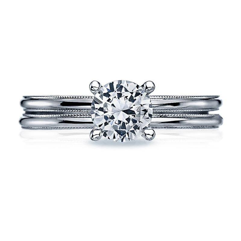 Tacori 40-15RD5.5 Milgrain Solitaire Platinum Engagement Sculpted Crescent Setting with Band