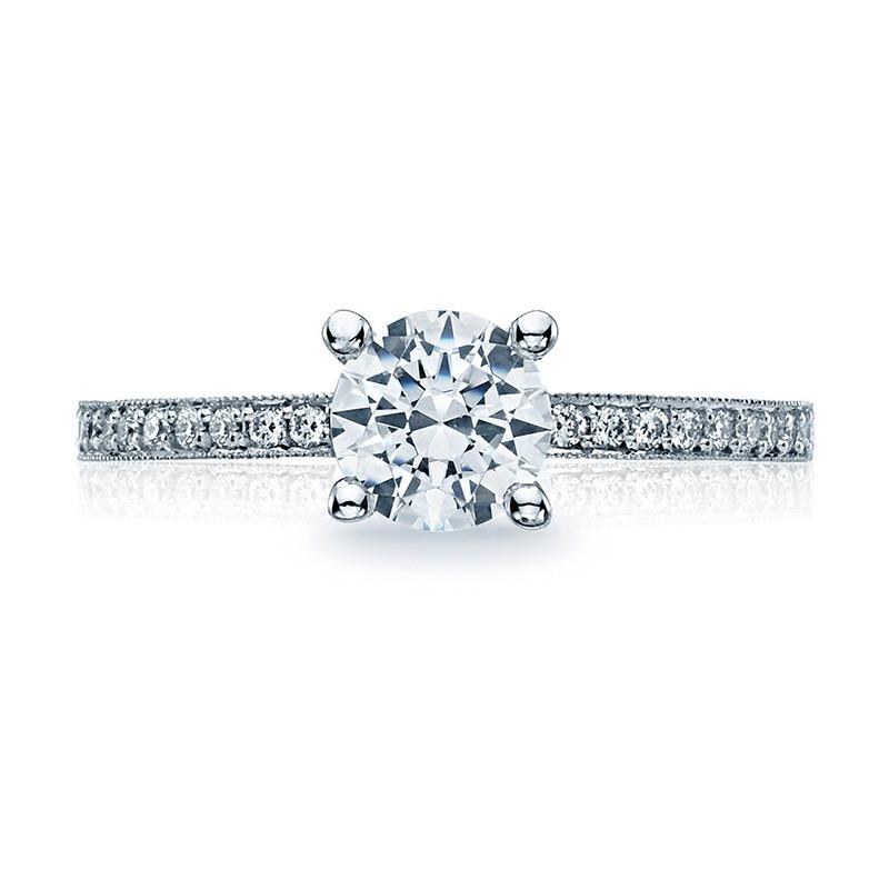 Tacori 41-15RD6 Platinum Milgrain Half Way Engagement Sculpted Crescent Setting Top View